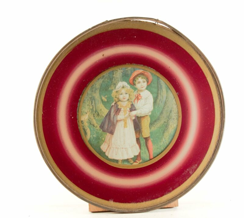 "Antique 8.5"" Flue Cover ""Young Boy & Girl"" Glass With Metal Frame"