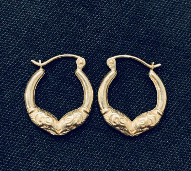 14k Yellow Gold Diamond Cut Textured Hook Hoop Earrings