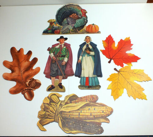 Vtg Dennison Die Cut Thanksgiving Decorations Pilgrims Turkey Corn Fall Leaves