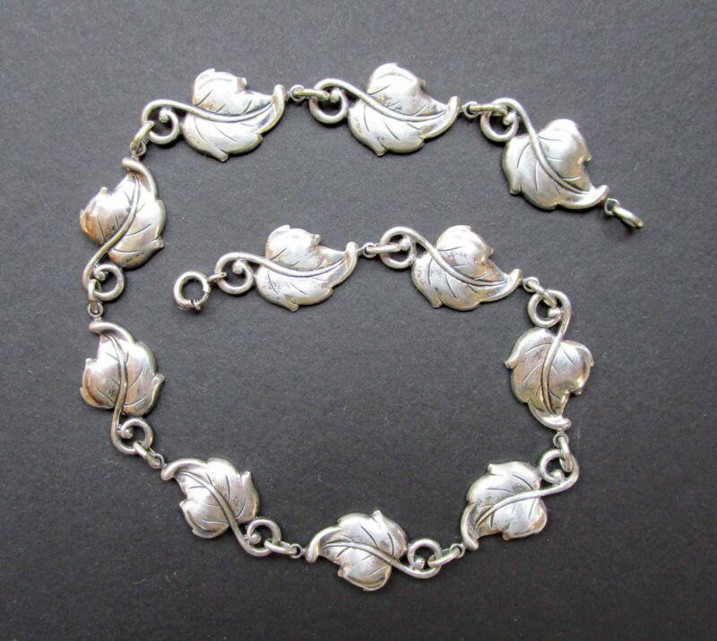 """Vintage Sterling Silver DANECRAFT Leaf Design Link Necklace 16"""""""