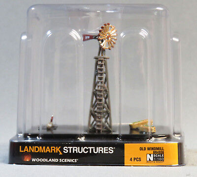 WOODLAND SCENICS OLD WINDMILL BUILT & READY N SCALE gauge scenery farm 4936 NEW