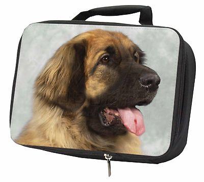 Blonde Leonberger Dog Black Insulated School Lunch Box Bag, AD-LE1LBB