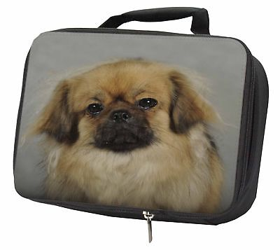 Tibetan Spaniel Dog Black Insulated School Lunch Box Bag, AD-TS2LBB