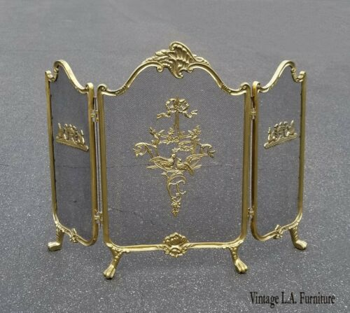 Vintage French Provincial Gold Brass Fireplace Screen