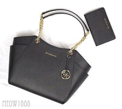 Michael Kors JET SET Black Saffiano Chain Shoulder Tote Bag Slim Bifold Wallet