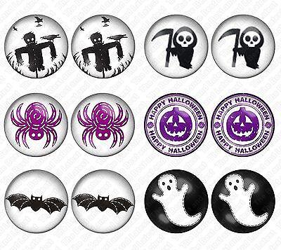 6x SET Halloween Stainless Steel Stud Earrings - Ghost Bat Death Pumpkin - New