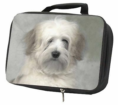 White Tibetan Terrier Dog Black Insulated School Lunch Box Bag, AD-TT1LBB