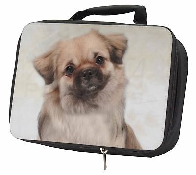 Tibetan Spaniel Dog Black Insulated School Lunch Box Bag, AD-TS1LBB