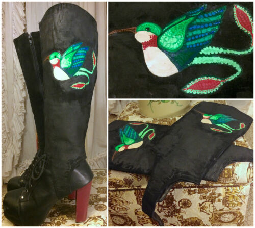 60s OoaK Hand Painted Hummingbird Birds Knee High Boot Spats Wide Calf