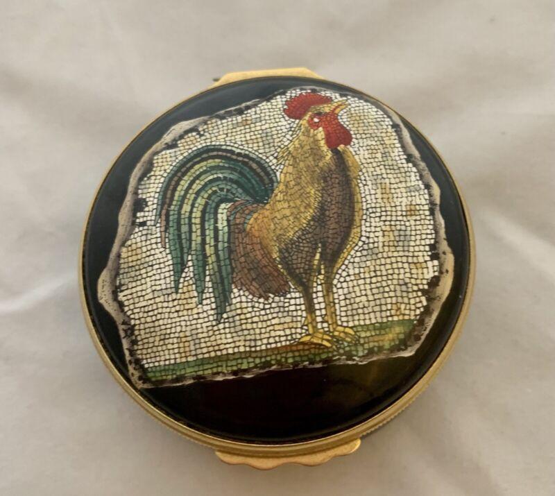 Halcyon Days Enamel Mosiac Rooster Trinket Box