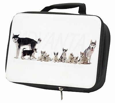 Siberian Huskies Black Insulated School Lunch Box Bag, AD-H56LBB