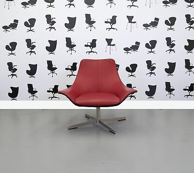 Refurbished Matteo Grassi Designer Arm Chair - 2 Leather - Red Seat and Back ...