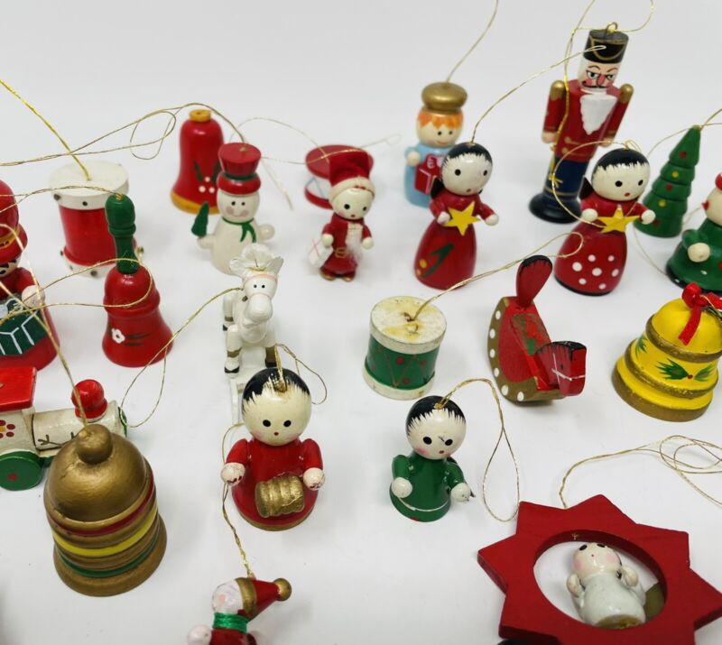 Lot Of 35 Vintage Small Wooden Christmas Ornaments Hand Painted