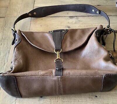 HIDESIGN vintage bag brown leather slouchy medium grab shoulder