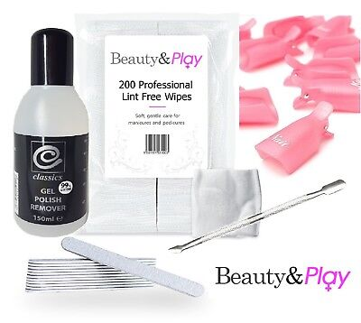 Essential Pro UV LED Gel Soak Off Nail Polish Acetone Wipes Manicure Remover Kit