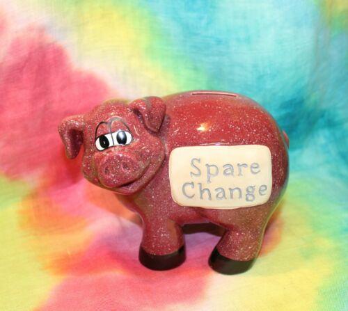 Speckled Burgundy/Maroon Ceramic SPARE CHANGE Pig Piggy Coin Bank