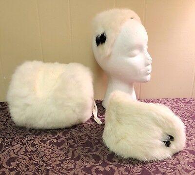 Vintage 1950s 1960s Girls Rabbit Fur Ear Muff Hand Warmer Headbands Hats Winter