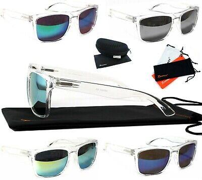 Sonnenbrille Groß Transparent Rechteckig Verspiegelt Damen Herren Brillencase T2