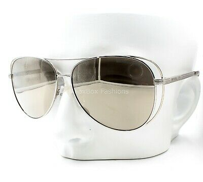 Michael Kors MK 1024 11765A Double Wire Aviator Sunglasses Silver Mirror Display
