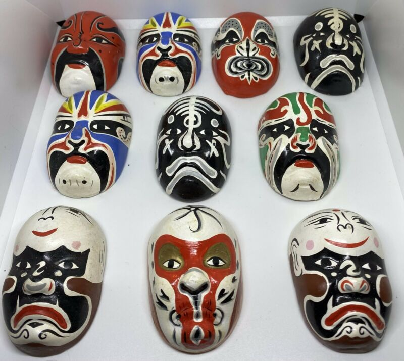 VINTAGE 23 Small Hand painted KABUKI CLAY ORIENTAL MASKS HIGHLY DETAILED