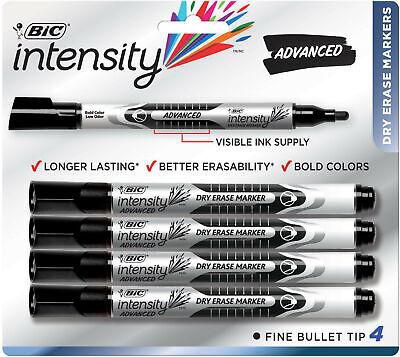 Bic Intensity Advanced Dry Erase Marker Bullet Point Black 4-pack