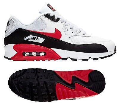 New NIKE Air Max 90 Essential Mens white black red