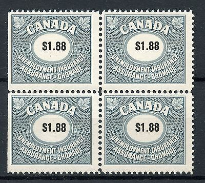 Weeda Canada Fu82 Vf Mint Nh Unemployment Insurance  1 88 Block Of 4 Cv  42 50