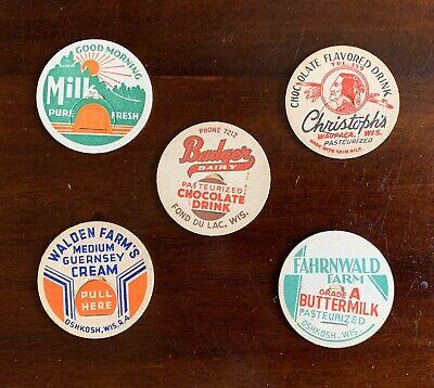 5 Wisconsin Dairy Vintage Milk Bottle Caps - Oshkosh, Waupaca, Fond du Lac, WI