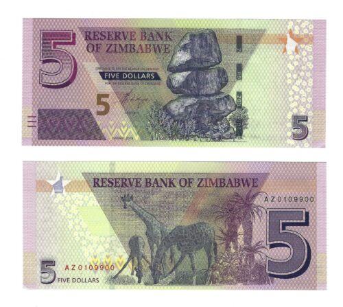 ZIMBABWE $5 Dollars 2019, Reserve Bank, Brand New Type & Series, Pack Fresh UNC