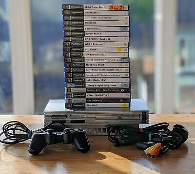 Silver Playstation 2 Console Bundle - 20 Games, Eye Toy Camera, Memory Card