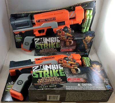 2pk Nerf Zombie Strike Clear Shot Dart Gun Zen Squad 4 Darts SCOPE NOT INCLUDED