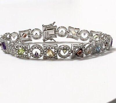 Mixed Gemstone Bracelet - Mixed Natural Gemstone Tennis Bracelet Rhodium Plated Sterling Size 7.25
