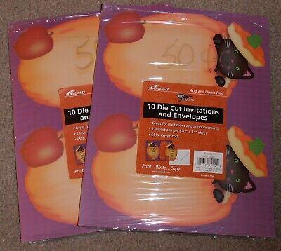Printable Halloween Pumpkin (28 HALLOWEEN Printable Invitations & Envelopes AMPAD Pumpkin Black Cat Die)