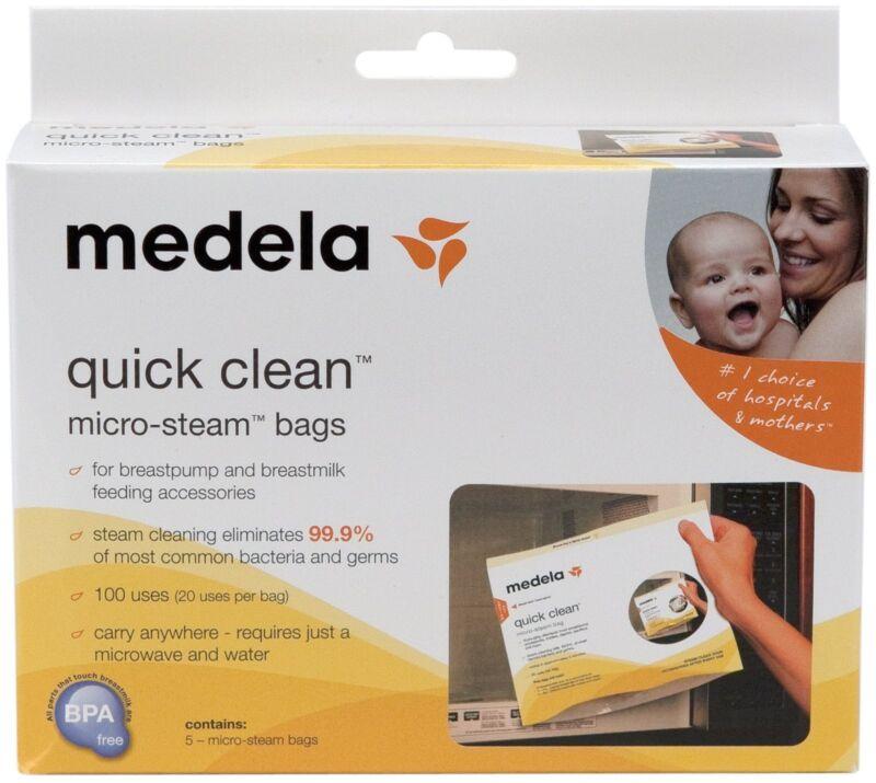 MEDELA - QUICK CLEAN MICRO STEAM BAGS - 5 BAGS/BOX #87024NA, NEW