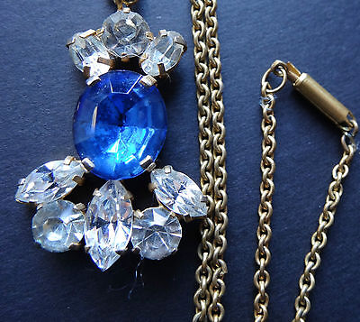 vintage blue clear rhinestone flower pendant chain necklace gold tone T293