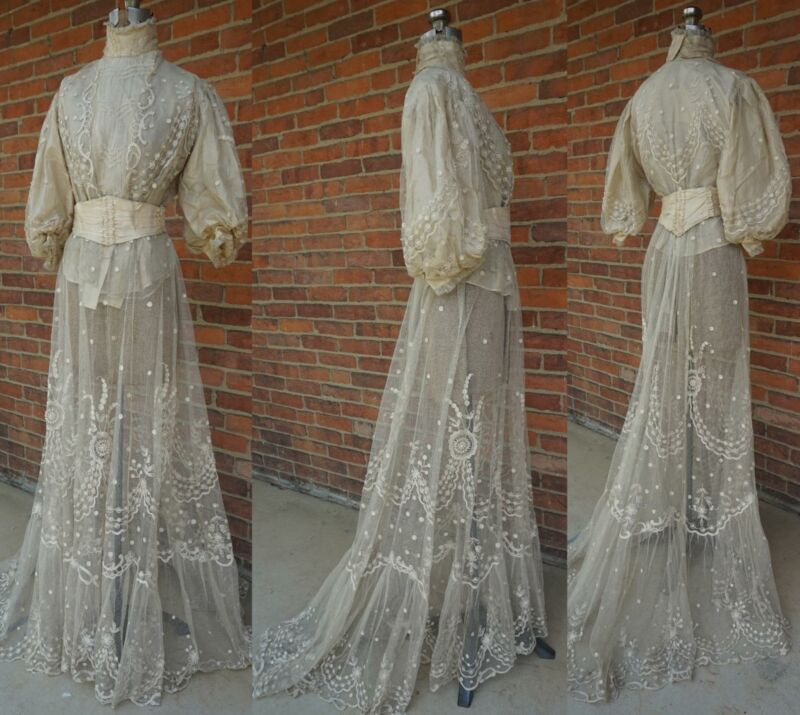TAMBOUR LACE Net 1900's EDWARDIAN Victorian Pearls Wedding Gown Dress Silk Ecru