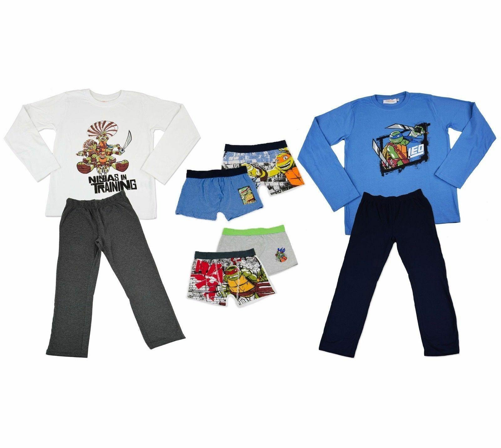 TURTLES Schlafanzug Pyjama Boxer Unterhose Nachtwäsche 100% Baumwolle Öko-Tex