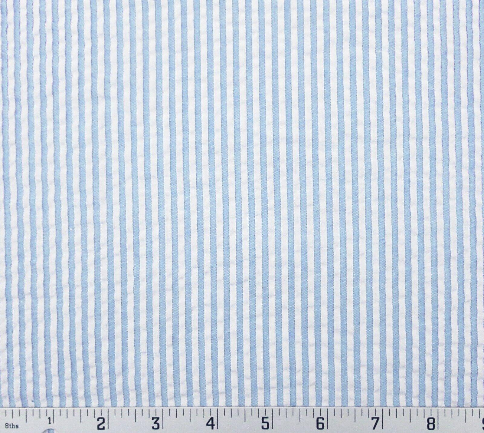 Robert Kaufman Classic Seersucker Light Blue White Stripe 57