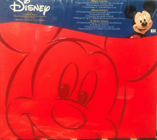 """Disney Mickey Mouse - Red 8""""x 8"""" - Scrapbook Album Kit - W/10 Page Protectors"""