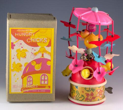 Vintage Celluloid Wind Up Mechanical Hungry Chicks Merry Go Round With Box 1950s