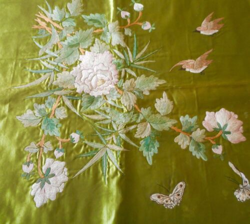 Antique French Chinoiserie Peony Floral Bird Embroidered Silk Fabric ~Green Pink