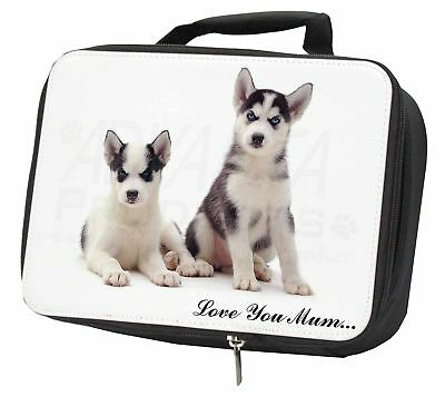 Siberian Huskies 'Love You Mum' Black Insulated School Lunch Box B, AD-H63lymLBB