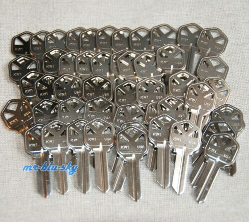 50 Ilco Kwikset KW1 Key Blanks, Nickel Plated, Made in USA