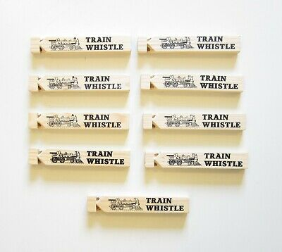 9 NEW WOODEN TOY TRAIN WHISTLES 6.75