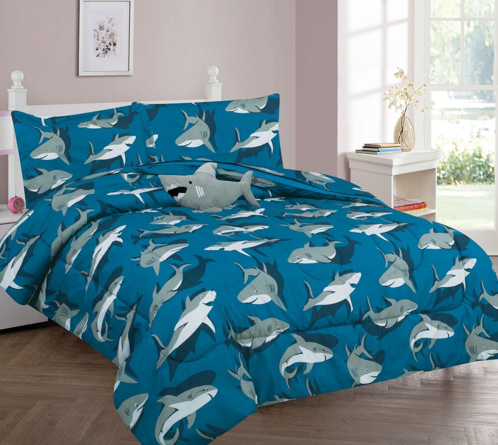 Shark Blue Grey Printed Complete Bed Comforter set For Boys