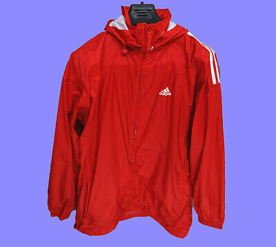 ADIDAS Red Anorak Lightweight Hooded Jacket (LARGE)