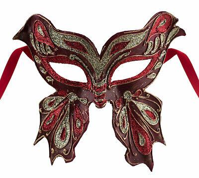 Mask from Venice Farfella Red Golden Glitter Butterfly Paper Mache 22527