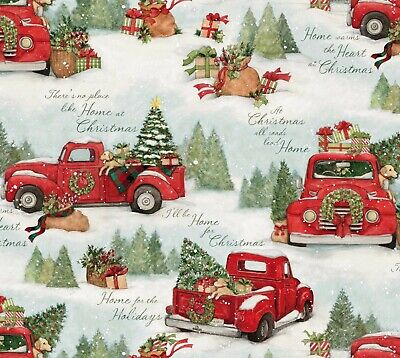 Red Trucks Home for Christmas Cotton Quilt Fabric Snow Tree Dog Springs Creative ()