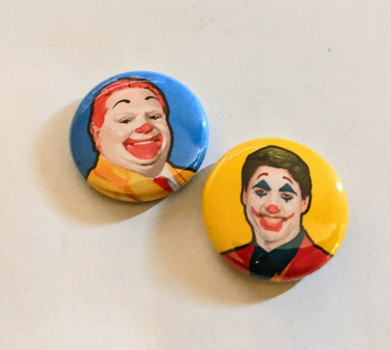 "2 PACK - 1"" Clowns Of Canada Pinback Meme Button Set Justin Trudeau Doug Ford..."