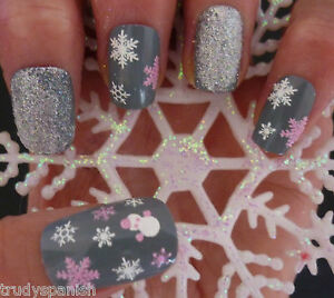 Christmas-Nail-Art-Stickers-Decals-White-Pink-Snowflakes-Snowman-Glitter